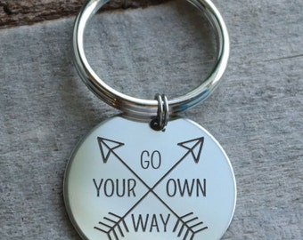 Go Your Own Way Personalized Key Chain - Engraved