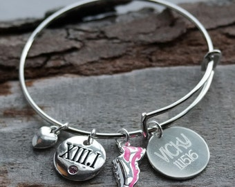 Half Marathon Personalized Adjustable Wire Bangle Bracelet