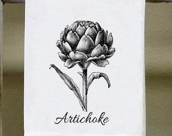 Artichoke Illustration, Kitchen Towel, Dish Towel, French Kitchen Towel