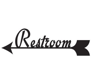 Bathroom Sign With Arrow Restroom