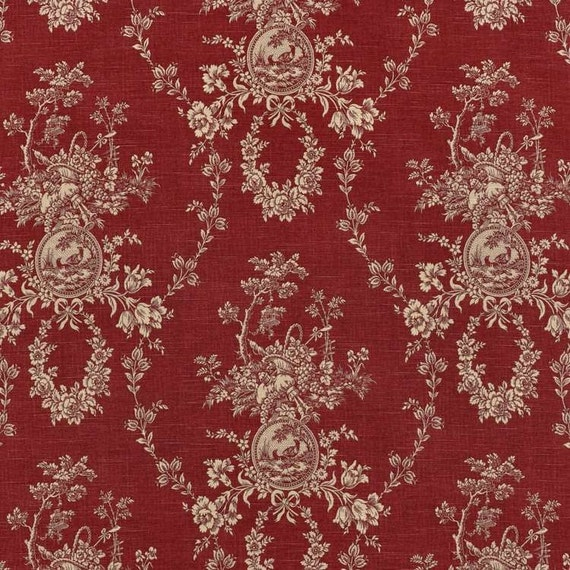 ... Toile natural red ivory 72 x 84 Extra long shower curtain Toile shower
