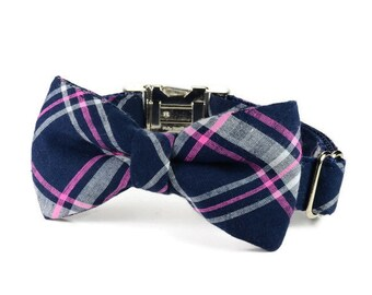 The Charleston Bow Tie Dog Collar, Pink And Navy Plaid Bow Tie Dog Collar, Plaid Bow Tie Collar, Preppy Dog Collar, Bow Tie For Dog, Bowtie
