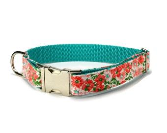 Coral Floral Dog Collar, Coral Dog Collar, Floral Dog Collar, Coral Floral Collar, Collar For Girl Dog, Coral Dog Collar, Coral And Teal