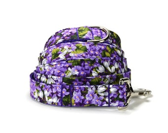 Purple Floral Dog Leash, Floral Dog Leash, Purple Dog Leash, Fall Dog Leash, Autumn Dog Leash, Leash For Girl Dog, Fancy Dog Leash, Dog Lead