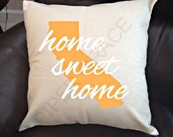California Home Sweet Home Pillow Cover, California Pillow, Home Sweet Home Pillow, Home Pillow Cover