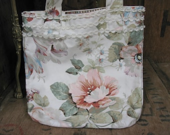 Floral Bag, Hand Made Bag, Vintage Bag, Vintage Purse, Vintage Handbag, Fabric Book Bag, Small Bag, Bag With Handles, Vintage Floral Bag