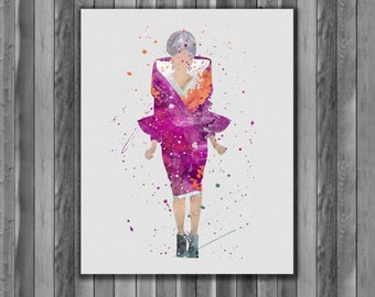 Effie Trinket, Hunger Games Instant Download Printable Art Print, watercolor Art Print, watercolor wall art, watercolor home decor