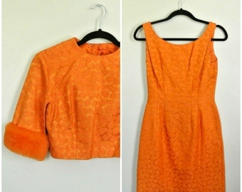 50s 60s Orange Floral Brocade Dress Set Wiggle Party Dress