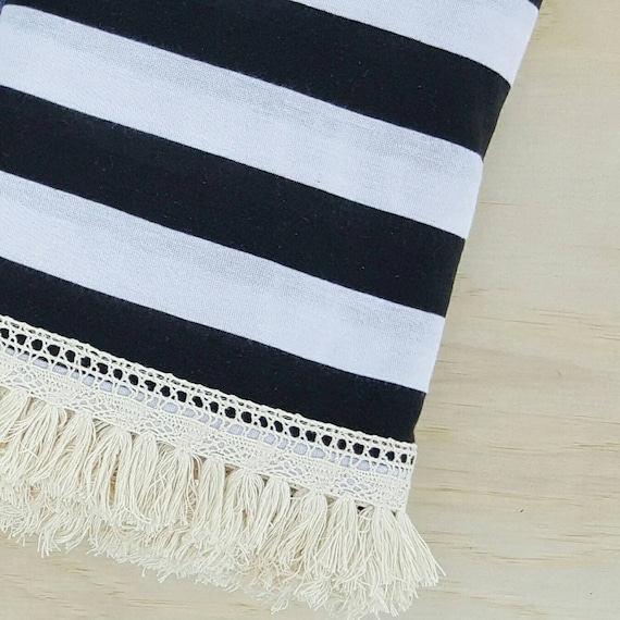black and white stripe fringe blanket. Black Bedroom Furniture Sets. Home Design Ideas