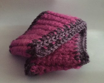 Chunky Pink Headband with purple edging