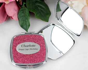 Glitter Compact Mirror - Personalised Gift