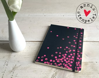 Notebook dots, black, lined, DIN A5