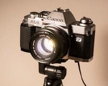 PIPESTORY -Upcycled camera lamp / Upcycled lamp / Camera lamp / Vintage lamp / Interior lamp