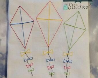Sketched Kite Trio ~ Vintage Stitched ~ Heirloom Stitched ~ Bean Stitched ~ Instant Download