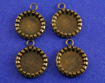 4 pcs- Antique Brass 16mm Rolled Edge Setting, Holds 12mm Cabochon or Cameo, Holds 12 mm Cab