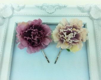 Two flower hair pins, flower headpice, wedding hair accessories, prom hair pin, bridesmaid hair pin, flower girl