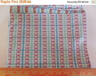On sale Destash- Blue Plaid Fabric With Red Flowers