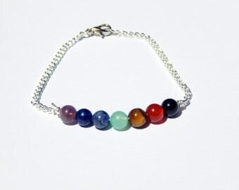 Chakra Bracelet, 7 Chakra Bracelet, Gemstone Bar Bracelet, Gemstone Bracelet, Chakra Stones, Stackable Bracelet, Chakra Jewelry, Chakra