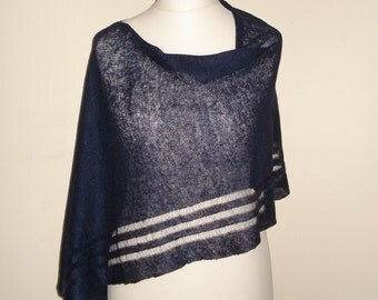 Navy linen poncho, linen shawl, linen scarf, navy blue, knitted linen knit, linen knitwear, summer poncho, wedding shawl, evening wrap