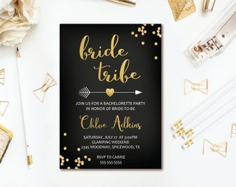 Bride Tribe Bachelorette Invitation - Black & Gold Confetti Arrow Bachelorette Party Invitation - Boho Tribal Printable Invite