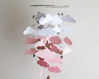 Cloud Mobille - custom colors,pink and grey,nursery mobile,kids,white and pink mobile,handmade hanging mobile,clouds and stars mobile