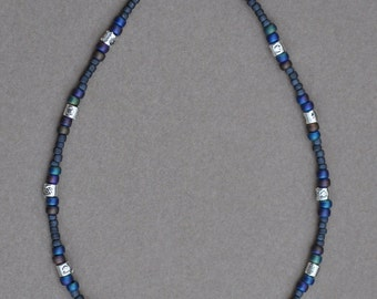 Dark Mat Blue and Pewter Anklet