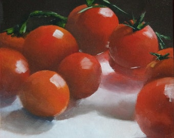 Original Small Oil Painting of Cherry Tomatoes I