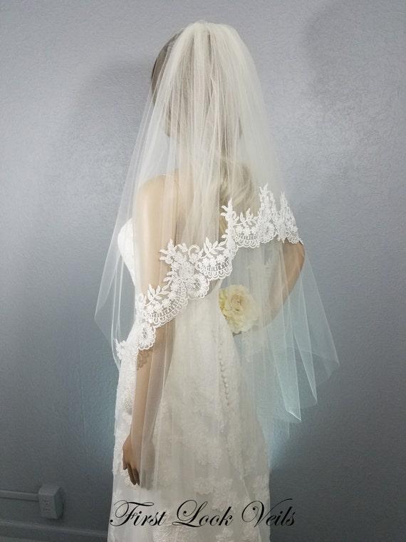 Lace Wedding Veil, Bridal Veil Ivory, Fingertip Veil, Floral Veil, Beads, crystals, wedding Vail, Bridal Accessory, Bride