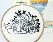 House Portrait, Custom Embroidery Hoop Art, Personalized Gift, Housewarming Gift, Home Drawing, Cotton Anniversary, Realtor Gift