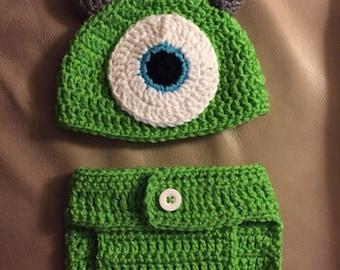 Crochet Mike Inspired Monster Inc Newborn Set.