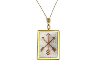 Arrow Necklace Arrows Jewelry Embroidered Necklace Embroidery Pendant Jewelry Embroidered Pendant