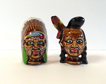 Indian Warrior Chief Salt and Pepper Shakers Native American Set Victoria Ceramics Made in Japan