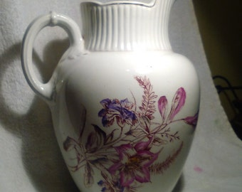 Antique Victorian Large Water Pitcher Iowa Pottery, Floral Arrangements, Dining Table Focal Point