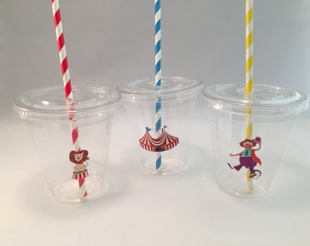 Carnival Party Cups with Lids and Straws, Plastic Circus Party Drink Cups