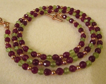 Garnet and Peridot necklace
