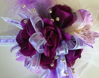 Purple wrist corsage, Prom Corsage, Mother of the Bride Corsage