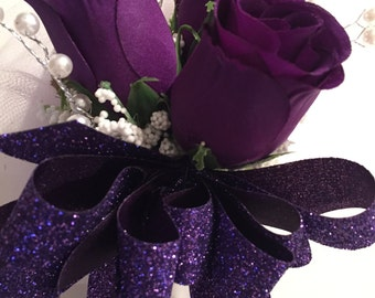 Purple Silk Rose Corsage, 100th Birthday Purple Corsage, Easter Corsage