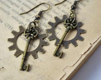 Antiqued Brass Gear and Key Earrings