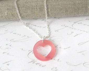 Pink Heart Necklace – Laser Cut – Heart Necklace – Sterling Silver