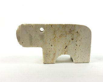 Flli Mannelli Hippo Travertine Sculpture Marked Italy