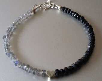 Faceted Labradorite and Black Spinel Bracelet with Sterling Silver Charm and Extender