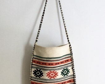 Boho Handbag  - Tribal Print Purse - Boho Purse - Handwoven Purse
