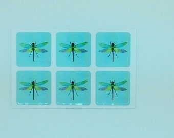 Dragonfly mini stickers x 6, hand painted and printed by artist and illustrator Ruth Goodwin, Gift wrapping, Birthday, Kids, Nature, Wedding
