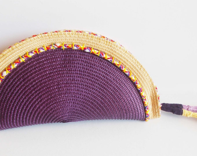 semi circle clutch bright summer colours, absolute trend summer accessory, straw raffia handsewn embellished colourful cord, raffia tassels