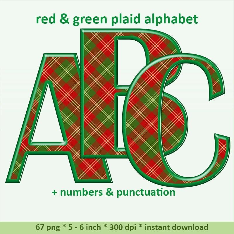 Plaid Red Green Digital Alphabet Clipart Scottish