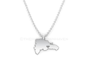 Dominican Republic Necklace - Dominican Republic charm necklace, Dominican Republic map necklace, I Heart the Dominican Republic necklace
