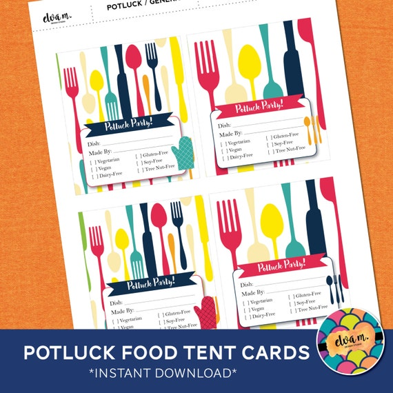 Potluck Food Tent Cards With Allergy Food Indicators By