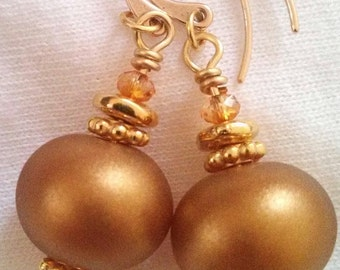 Lampwork Sunshine, or the Midas Touch earrings