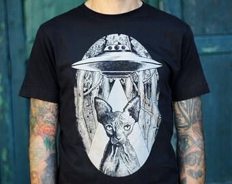 sphynx t-shirt, sphynx cat clothes , sphynx tshirt, alien cat man's shirt, steampunk clothing, boyfriend tshirt, vegan shirt, cat lover gift