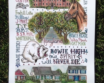 Bowie, Maryland print 11 x 14 inch fits in a standard size frame
